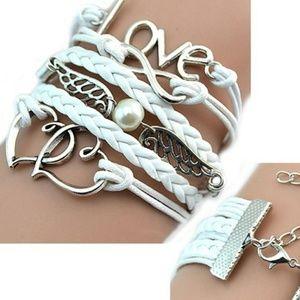 Women's Leather Infinity Multi Charm Bracelet